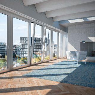 Baies vitrées Schüco équipée du système Schüco TipTronic Simply Smart